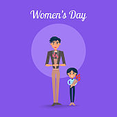 Womens Day Poster with Father and Son Illustration