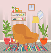 Home Interior, Chair with Houseplants and Carpet