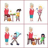 Grandmother and Grandchildren Vector Illustration