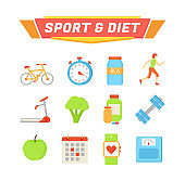 Sport and Diet Poster Icons Vector Illustration