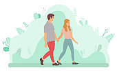 Young Couple Walking and Holding Hands Vector