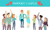 Married Couple Isolated on White Vector Poster