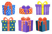 Set of Gifts Decorated with Bows Ribbon Vector