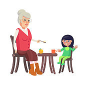 Grandmother and Granddaughter Vector Illustration