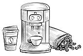 Coffee Machine and Plastic Cup with Bean Logo