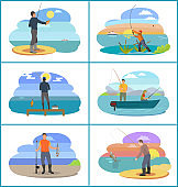 Fishing Set of People at Beach Vector Illustration