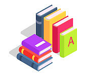 Pile of Books Standing in Row and Lying Vector