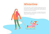 Wintertime Activity Pastime of Mother and Child