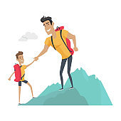 Daddy and Son Go Camping. Sport Activities