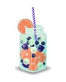 Mug of Refreshing Drink Fresh Grapefruit or Orange