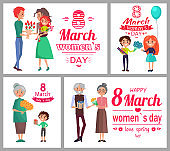 8 March Womens Day Poster Set Vector Illustration