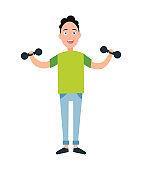 Teenager Training Dumbbells Vector Illustration
