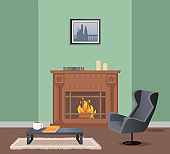 Room with Fireplace, Armchair and Table Vector