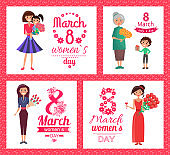 8 March Womens Day Collection Vector Illustration