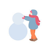 Young Person Making Snowman in Warm Clothes Vector