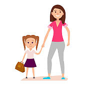 Little Girl with Brown Schoolbag Keeps Mom's Hand