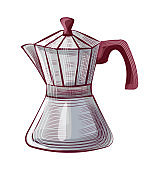 Drawing Pot for Coffee, Mug with Lid, Java Vector