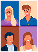 Happy Couples, Male Female Family Portraits Vector