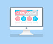Online Courses Computer Monitor with Information