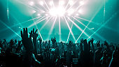 Happy People Dance in Nightclub Party Concert