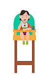 Infant Child Eating from Bowl in Baby Chair Vector