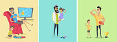 Set of Fatherhood Theme Concept illustrations.
