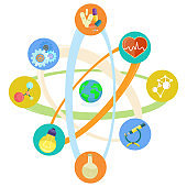 Science Themed Icons Placed in Atomic Model Set