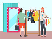 Man Choosing Clothes in Fashion Boutique Vector