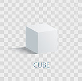 Cube Isolated Geometric Figure of white Color