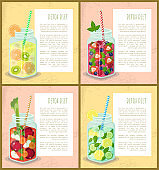 Detox Diet Set of Poster with Refreshing Cocktails
