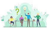 Meeting of Workers, Brainstorming Employees Vector