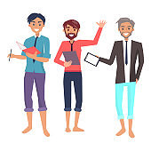 Three Cheerful Employees Color Vector Illustration