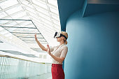 Businesswoman in virtual reality