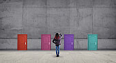 Multiple doors with different colors on a wall .  Difficult decision concept . This is a 3d render illustration .