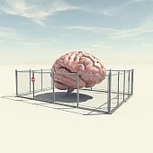 Human brain closed in a cage . Limited mind and boundaries concept . This is a 3d render illustration .