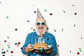 Man at birthday party