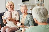Senior women drinking tea