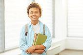 Cheerful African American Schoolboy