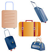 set of suitcases for travel and business trips, isolated object on a white background,