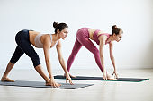 Two fit women exercising