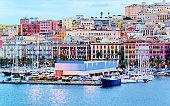 Port and ships at Cagliari reflex