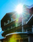 House architecture in Mayrhofen in Zillertal valley Tirol Austria sunny reflex
