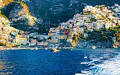 Citiscape and landscape at Positano town of Amalfi Coast reflex