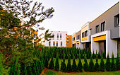 Apartment townhouses residential home architecture with outdoor facilities reflex
