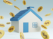 3D of golden coins and house. Savings money or investing to buy a home or loan. Concept of Investment property.