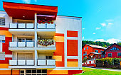 Modern residential apartment house at Maribor Slovenia reflex