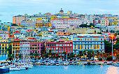 Port and ships in Cagliari reflex