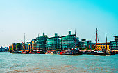 Apartment residential house near Thames River in London reflex
