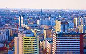 Aerial view on modern architecture in Potsdamer Platz Berlin reflex