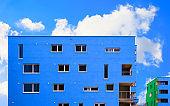 Blue Modern residential apartment flat building exterior at Salzburg reflex